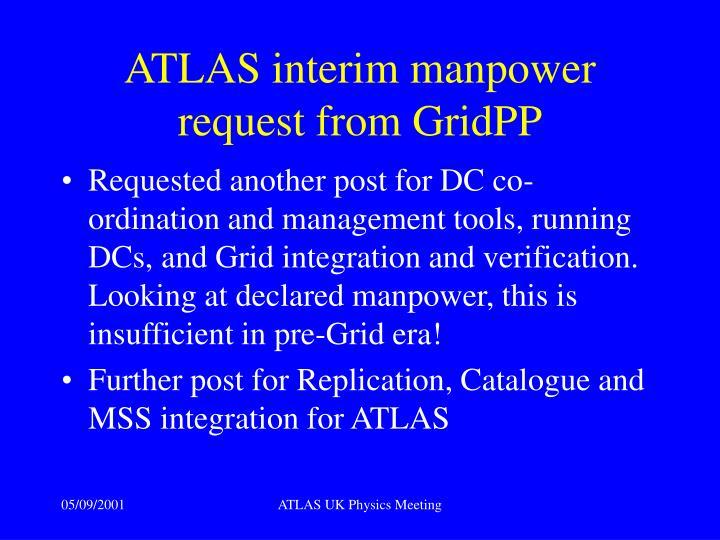 ATLAS interim manpower request from GridPP