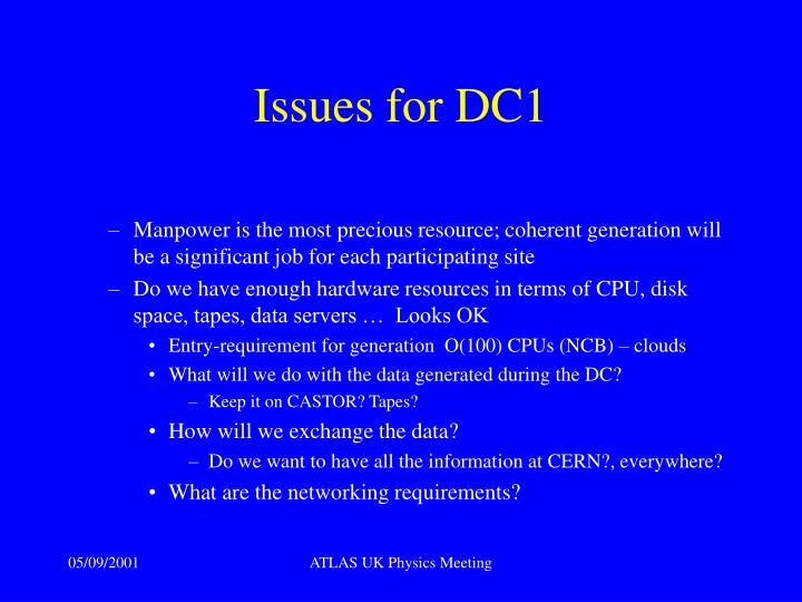Issues for DC1