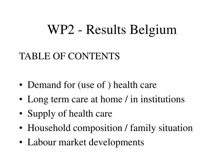 WP2 - Results Belgium
