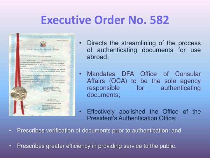 Executive Order No. 582