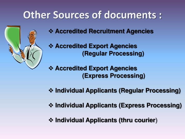 Other Sources of documents :