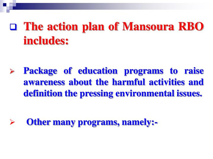 The action plan of Mansoura RBO includes:
