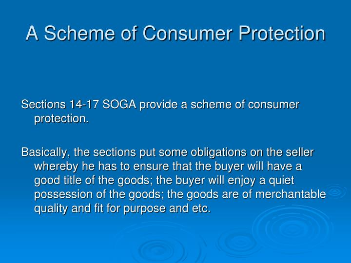 A Scheme of Consumer Protection