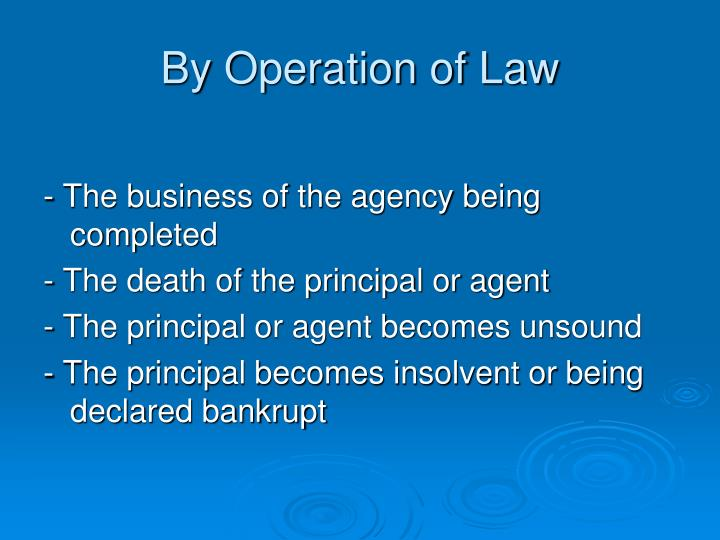 By Operation of Law