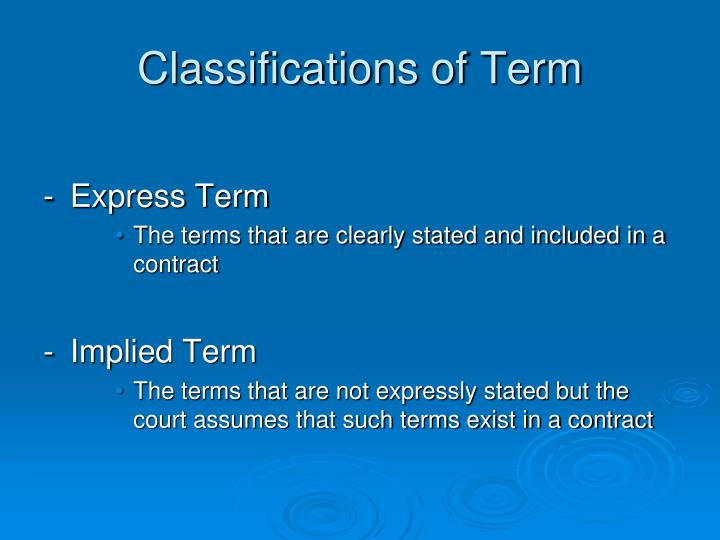 Classifications of Term