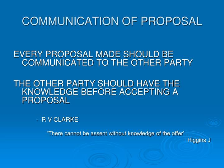 COMMUNICATION OF PROPOSAL