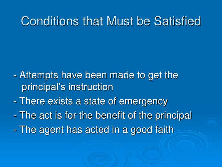 Conditions that Must be Satisfied