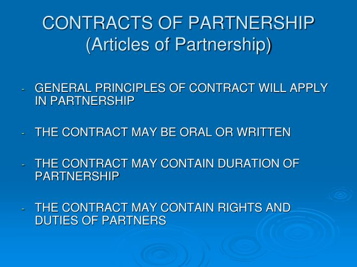 CONTRACTS OF PARTNERSHIP