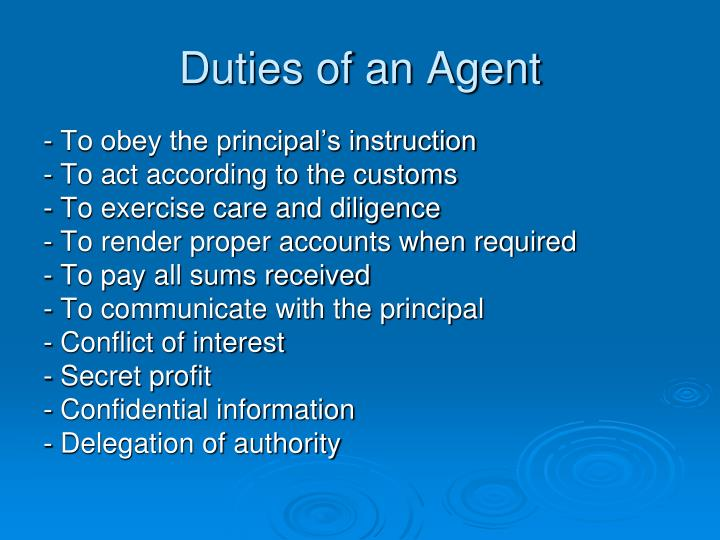 Duties of an Agent