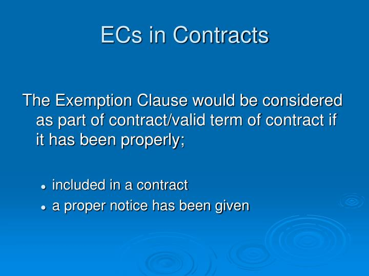 ECs in Contracts