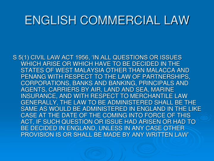 ENGLISH COMMERCIAL LAW