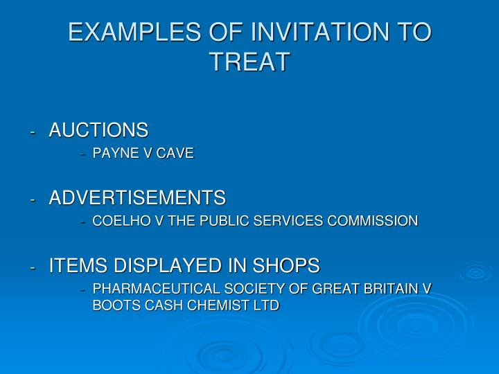 EXAMPLES OF INVITATION TO TREAT