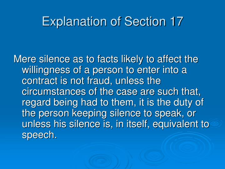 Explanation of Section 17