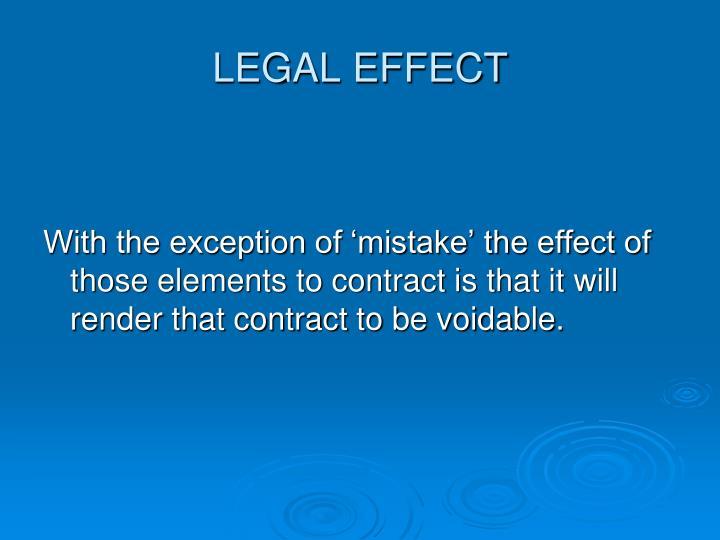 LEGAL EFFECT