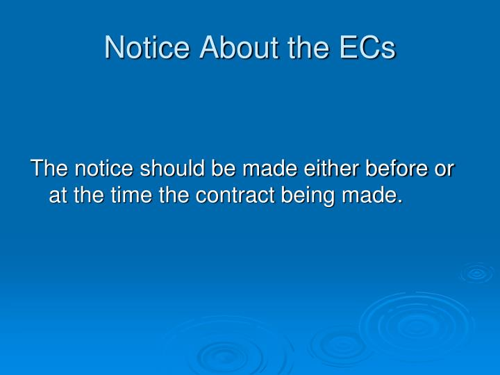 Notice About the ECs