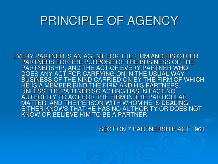 PRINCIPLE OF AGENCY