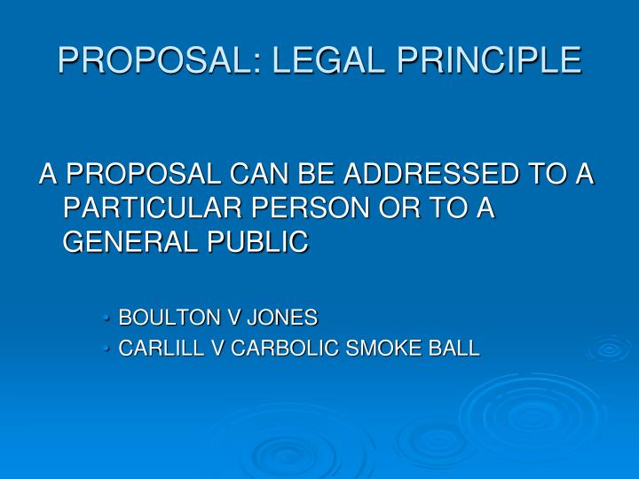 PROPOSAL: LEGAL PRINCIPLE