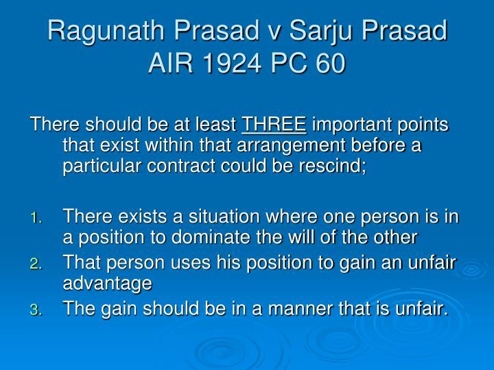Ragunath Prasad v Sarju Prasad AIR 1924 PC 60