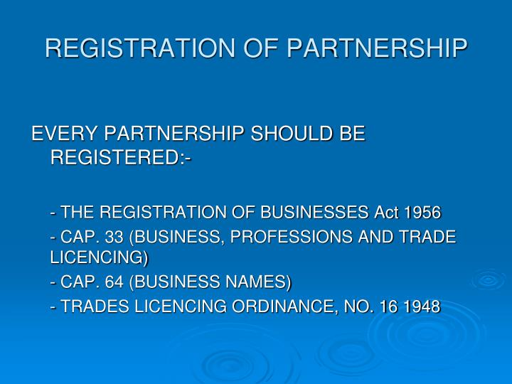 REGISTRATION OF PARTNERSHIP