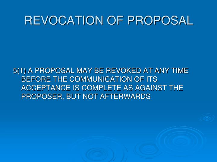 REVOCATION OF PROPOSAL