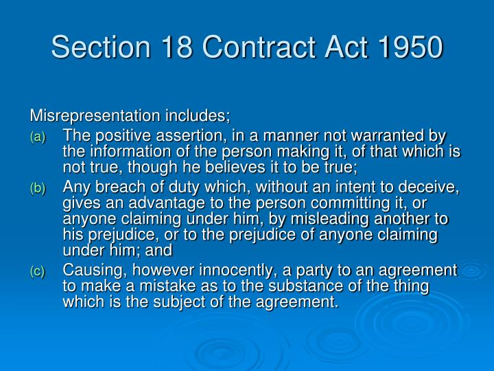 Section 18 Contract Act 1950
