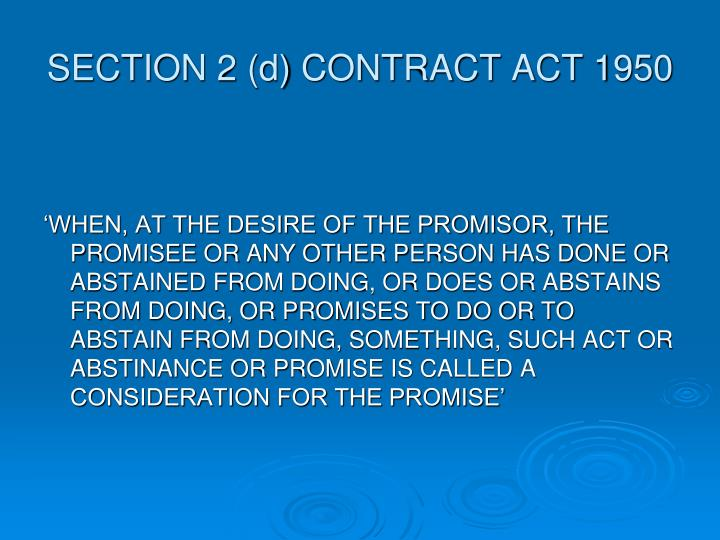 SECTION 2 (d) CONTRACT ACT 1950