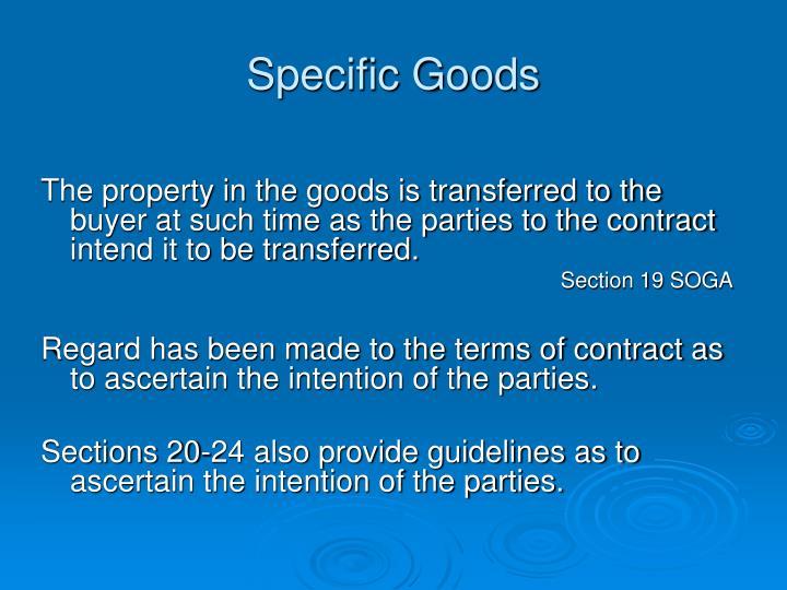 Specific Goods