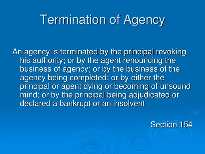 Termination of Agency