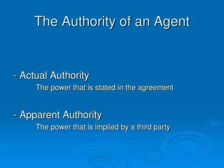 The Authority of an Agent