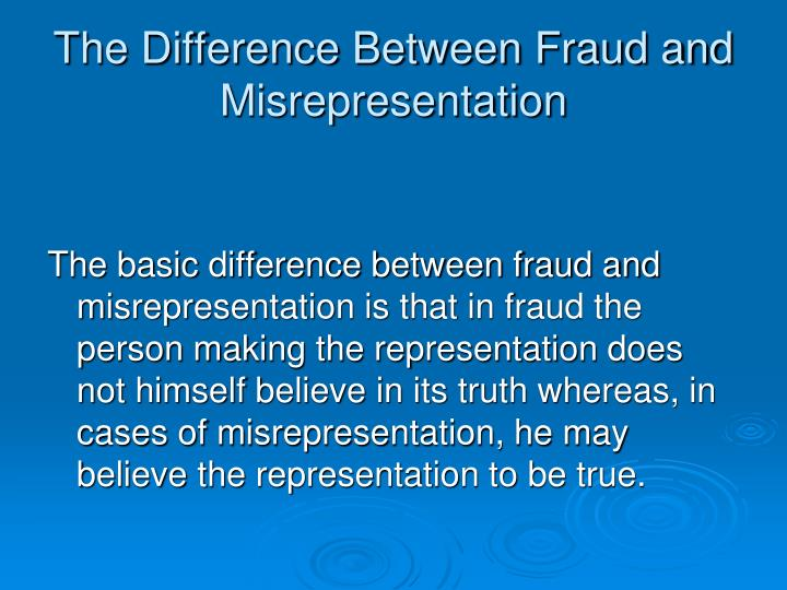 The Difference Between Fraud and Misrepresentation