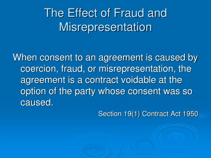 The Effect of Fraud and Misrepresentation