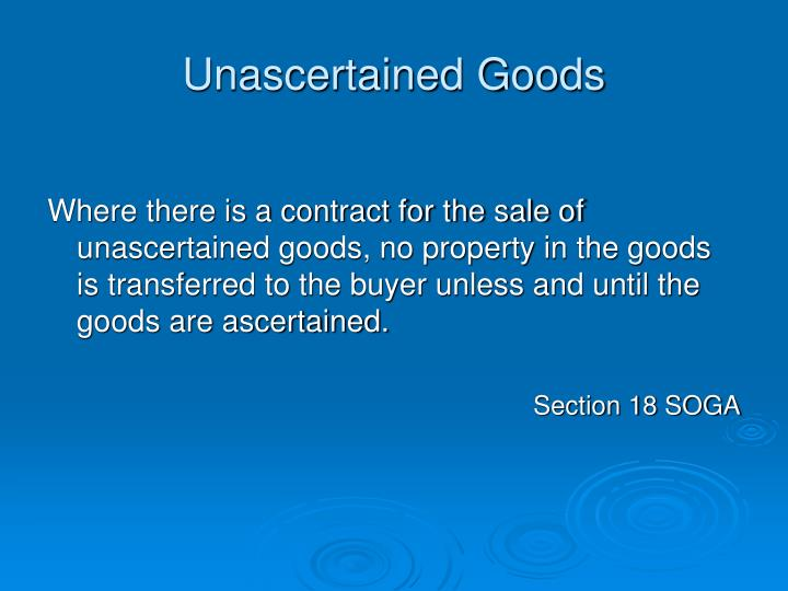 Unascertained Goods