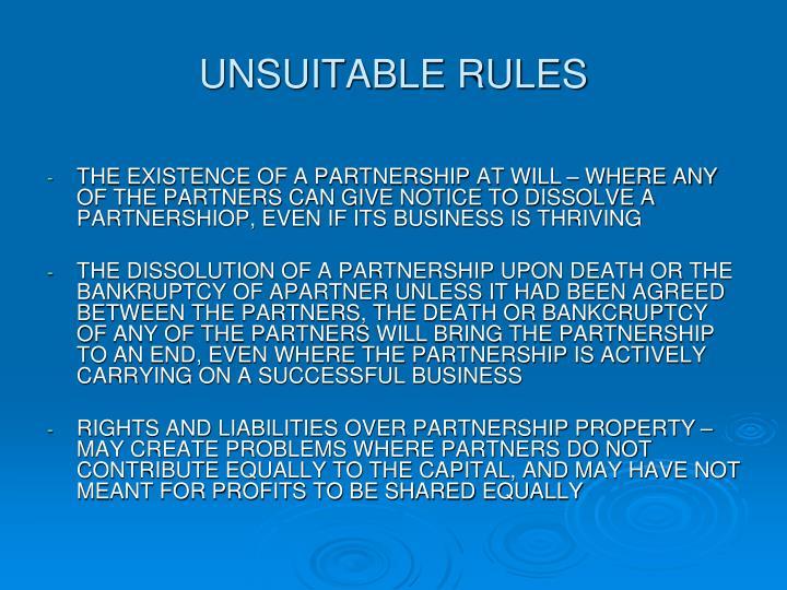 UNSUITABLE RULES
