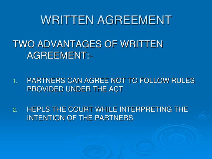 WRITTEN AGREEMENT