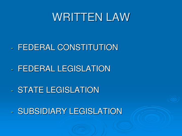 WRITTEN LAW