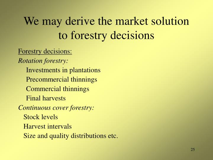 We may derive the market solution to forestry decisions