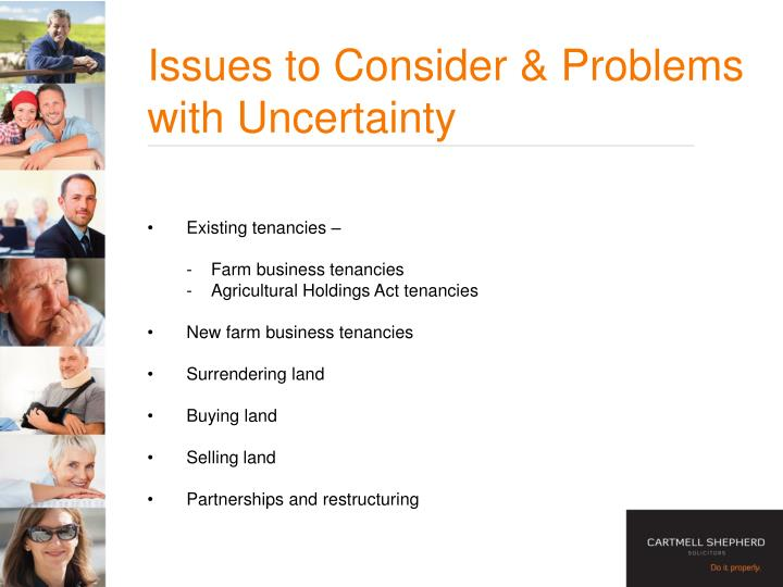 Issues to Consider & Problems with Uncertainty