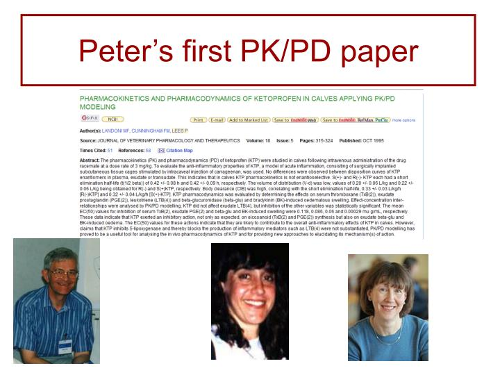 Peter's first PK/PD paper