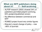 what are nfp publishers doing about it 1 self archiving