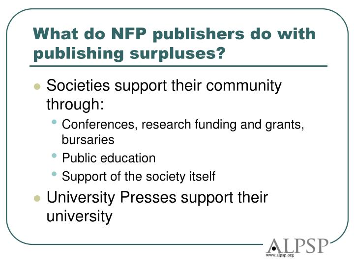 What do NFP publishers do with publishing surpluses?