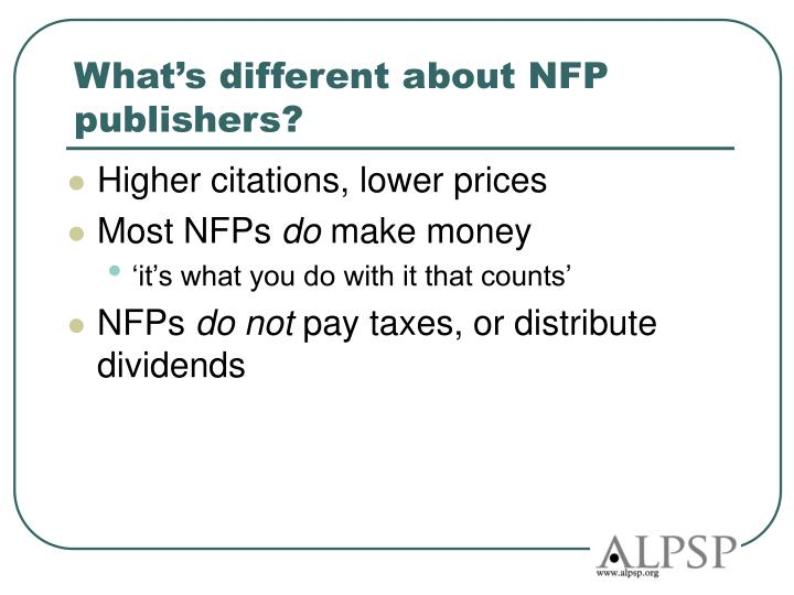 What's different about NFP publishers?