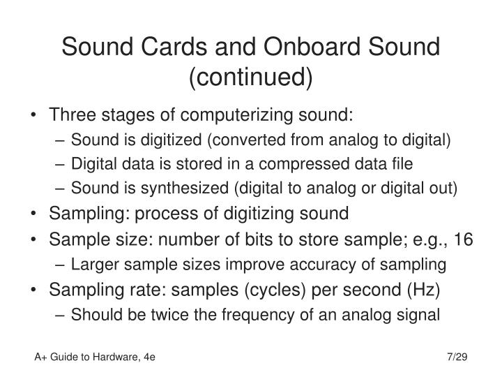 Sound Cards and Onboard Sound (continued)