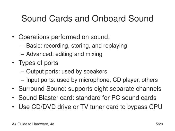 Sound Cards and Onboard Sound