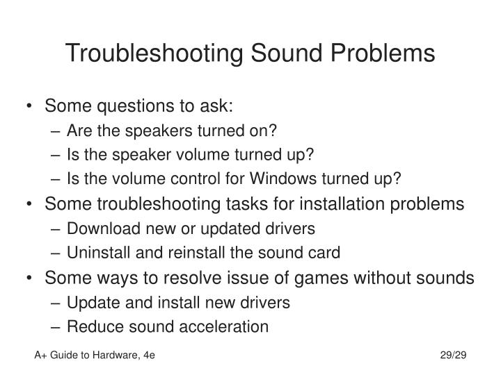 Troubleshooting Sound Problems