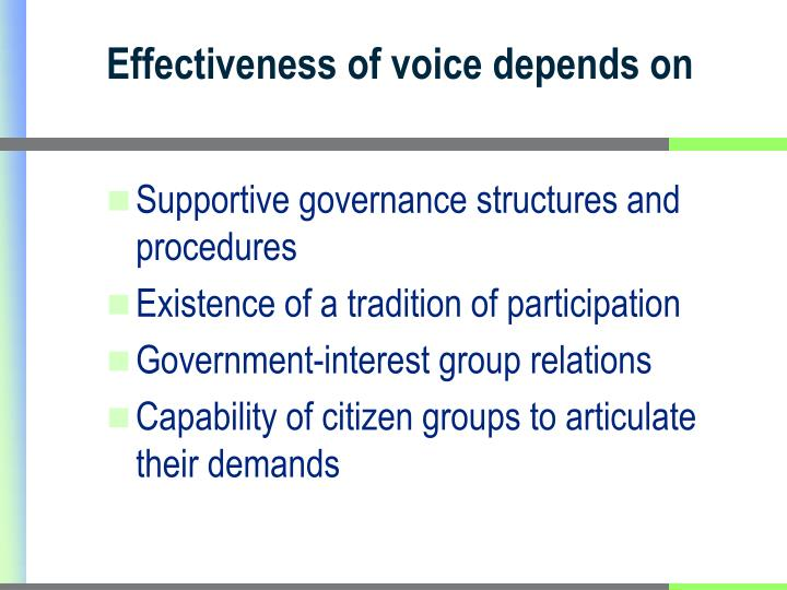 Effectiveness of voice depends on