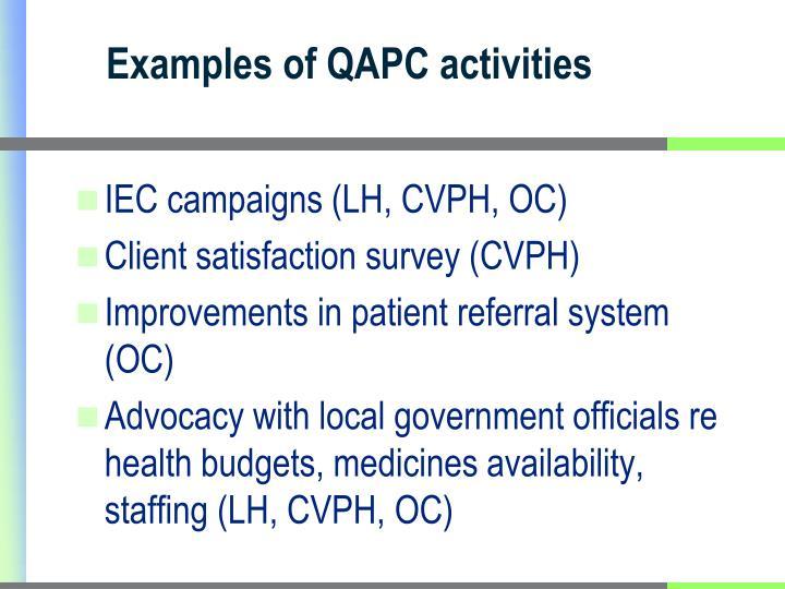Examples of QAPC activities