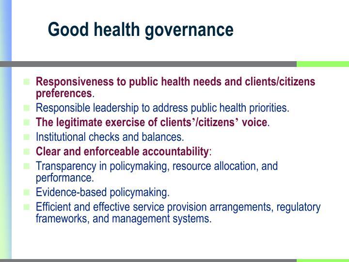 Good health governance