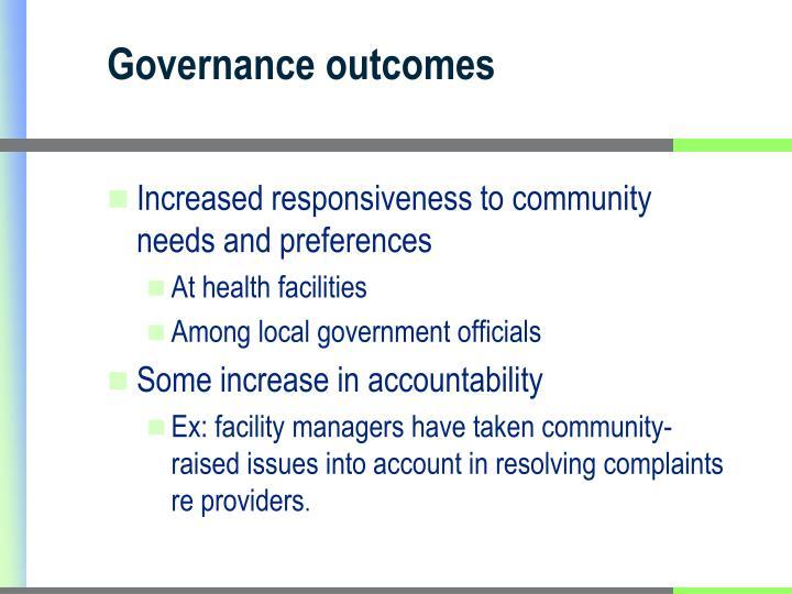 Governance outcomes
