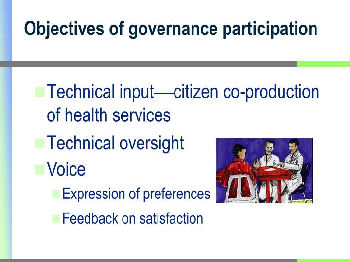 Objectives of governance participation