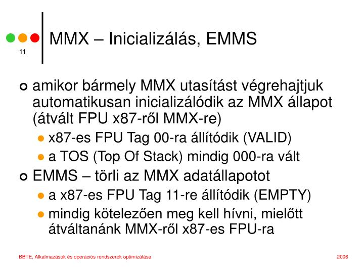 MMX – Inicializálás, EMMS